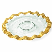 Annieglass Ruffle Round Chip & Dip Server Gold