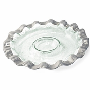 Annieglass Ruffle Round Chip & Dip Server Platinum