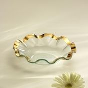Annieglass Ruffle Soup Bowl Gold