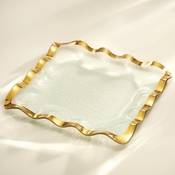 Annieglass Ruffle Square Tray Gold
