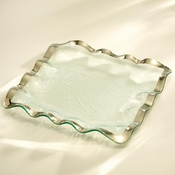Annieglass Ruffle Square Tray Platinum