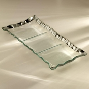 Annieglass Ruffle Three-Section Tray Platinum