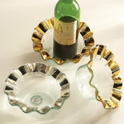 Annieglass Ruffle Wine Coaster Candle Holder Platinum