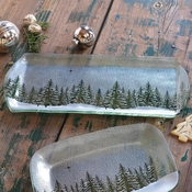 Annieglass Winter Evergreen Party Tray