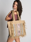 Muche et Muchette Bardo Embroidered Frayed Tote - Natural/ Pink