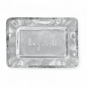 "Beatriz Ball A Little Something rectangular engraved tray with Pearl border (""LOVE YOU A LOT"")"