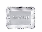 Beatriz Ball GIFTABLES Pearl rect engraved tray- Merry and Bright