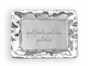 Beatriz Ball GIFTABLES Vento rect engraved tray- good friends, good wine, good times