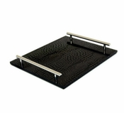 "Bird & Co. Black Croc Tray 5.5"" x 12"" - CLOSEOUT"