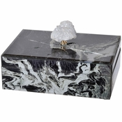 Black Marble & White Geode Glass Jewelry Box - SPECIAL