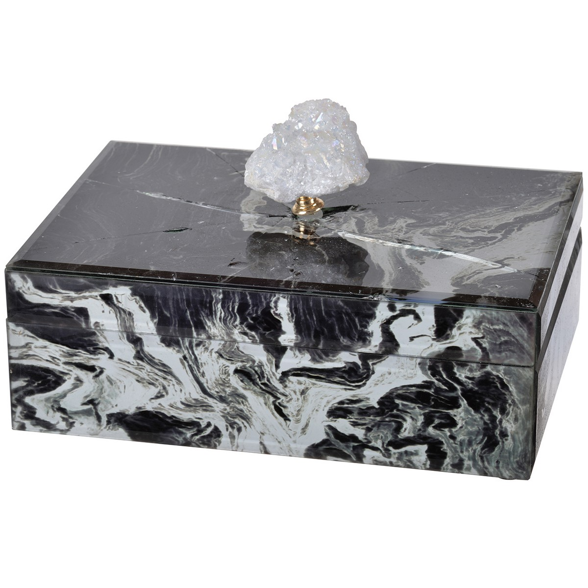 Excellent Black Marble & White Geode Glass Jewelry Box - SPECIAL VJ22