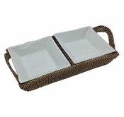 "Calaisio 12"" Rectangular Rattan Handled Tray With Two Pillivuyt Inserts"