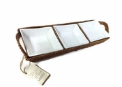 "Calaisio 18"" Rectangular Rattan Handled Tray With Three Pillivuyt Inserts"