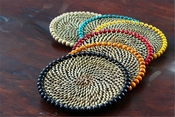 Calaisio Beaded Coasters, Set of 4 with Black Wood Beads