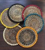 Calaisio Beaded Coasters, Set of 4 with Natural Wood Beads