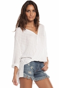 Collared Criss Cross Flip Front Hi-lo Top - White