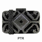Collective Designs - Crystal Minaudiere Pewter