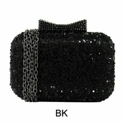 Collective Designs - Satin & Crystal Minaudiere Black