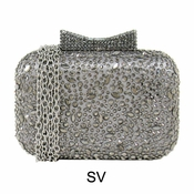Collective Designs - Satin & Crystal Minaudiere Silver