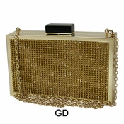 Collective Designs - Vintage Crystal Box Clutch Gold