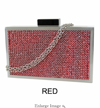 Collective Designs - Vintage Crystal Box Clutch Red