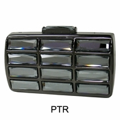 Collective Designs - Vintage Glass Stone Box Clutch Pewter