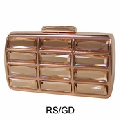 Collective Designs - Vintage Glass Stone Box Clutch Rose Gold