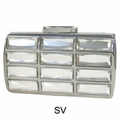 Collective Designs - Vintage Glass Stone Box Clutch Silver
