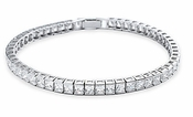 Crislu Sterling Platinum Princess Cut Cubic Zirconia Tennis Bracelet