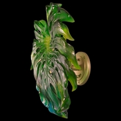 Daum Crystal Small Green Amber Wall Leaf With Short Fixing