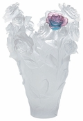 Daum Crystal White Magnum Vase & Green Pink Flower