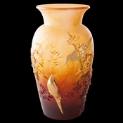 Daum Crystal Autumn Vase Amber & Gold