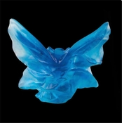 Daum Crystal Butterfly Small Blue Turquoise
