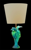 Daum Crystal Calao Lamp Blue Green
