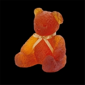 Daum Crystal Doudours Teddy Bear Large Amber