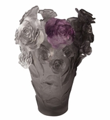 Daum Crystal Flower Vase Grey Purple