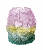 Daum Crystal Large Green Pink Rose Passion Candle Holder