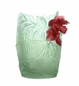 Daum Crystal Large Light Green & Red Hibiscus Vase - Limited Edition of 99