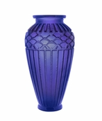 Daum Crystal Large Rhythms Vase - Blue