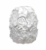 Daum Crystal Large White Rose Passion Candle Holder