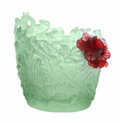 Daum Crystal Medium Light Green & Red Hibiscus Vase - Limited Edition of 225