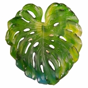Daum Crystal Monstera Emilio Robba Wall Leaf Green Large