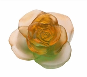 Daum Crystal Rose Passion Green Orange Flower