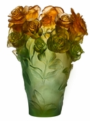 Daum Crystal Rose Passion Green & Orange Vase