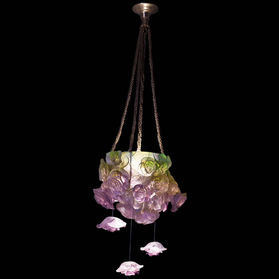 Daum crystal rose passion green pink hanging lamp limited daum crystal rose passion green pink hanging lamp limited edition of 255 arubaitofo Image collections