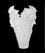 Daum Crystal Rose Passion White Magnum Vase Limited Edition to 50 Pieces