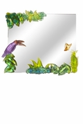 Daum Crystal Garden Of Eden Mirror With 1 Toucan