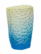 Daum Crystal Small Corals Vase - Blue Yellow