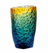 Daum Crystal Small Corals Vase - Night Blue Amber