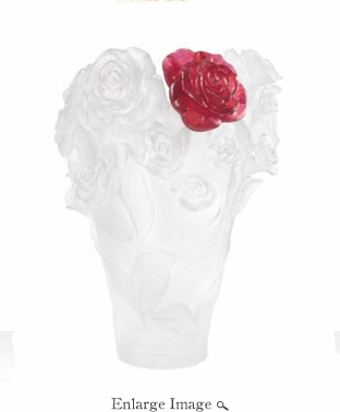 Daum Crystal White Rose Passion Vase & Red Flower - Limited Edition of 500